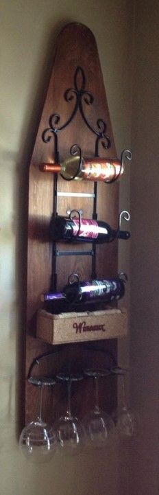 ironing board wine rack, dining room ideas, repurposing upcycling, wall decor