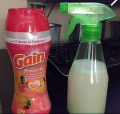 Is this ever a neat idea! I am sooooo trying this!!!! <3   1. Get some GAIN scent booster from the store, an empty spray bottle, and water.  2. Put just a little of the GAIN beads in the empty spray bottle and then add a little lukewarm water....  3. Shake it up and let it sit for 5 to 10 Minutes and spray away ..... And unlike FEBREZE ..... The smell last a lot longer and have your house smelling fresh    Click on to SHARE to be saved on your timeline (¯`v´¯)   `*.¸.*´  ¸.•´¸.•*¨) ¸.•*¨)…