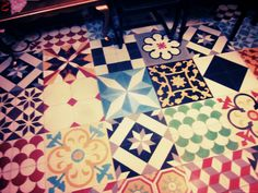 Beautiful vintage tiles at Faust bar in Athens...