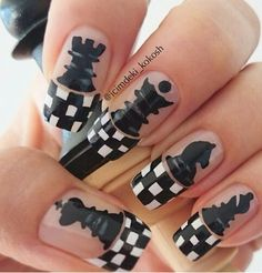 Black and white checker tip chess nail art  ay but where's the euchre at ... ?