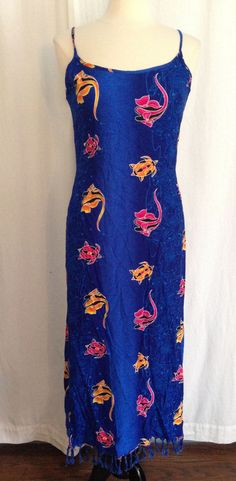 Womens COCO WALK Tropical Ocean Long Sleeveless Dress Beach Cover-Up MEDIUM Blue #CocoWalk #Sundress #SummerBeach