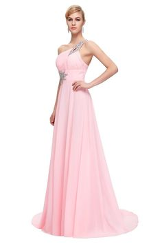 Evening dresses long chiffon robe de soiree elegant formal b Pink Party Dresses, Prom Dresses 2017, Prom Dresses For Sale, Blue Dresses, Evening Dresses, Bridesmaid Dresses, Beaded Prom Dress, Beaded Chiffon, One Shoulder Prom Dress