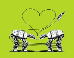 8-Pack Stickers: AT-AT Love - Green. $15.00, via Etsy.