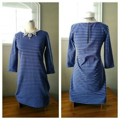 """Old Navy Striped Fitted Mini Dress Old Navy Striped Fitted Mini Dress in gently used condition, no flaws.  Great piece with pairing a blazer, wide belt and favorite boots.   Measurements are: Length is 34"""", Bust width is 18"""", Sleeve Length is 17.5"""", waist width is 16"""", Hip width is 19.5"""". Old Navy Dresses Mini"""