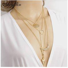 2017 Fashion Multilayer Long Vintage Statement Necklaces & Pendants Women Arrow Accessories Collier Femme Collar Jewelry Bijoux
