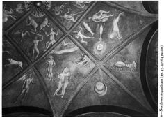 """Astrological frescos from the Roccabianca Castle, now in the Sforza Castle in Milan - Griselda's room - From the left: Taurus, Gemini, Caput Draconis, Cancer - """"The Astrological Vault of the Camera di Griselda from Roccabianca"""" by Kristen Lippincott"""