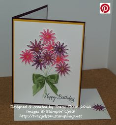 Birthday card created using the Grateful Bunch Stamp Set and Blossom Bunch Punch bundle from the Stampin' Up! 2016 Occasions Catalogue.  http://tracyelsom.stampinup.net