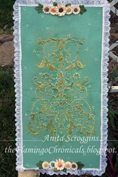 Textured and Stenciled Art Panel by Anita Scroggins