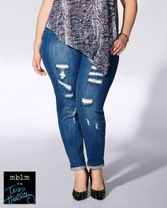Channel rock culture in this trendy plus-size jean from the mblm by Tess Holliday collection. Made with an extra stretchy cotton blend, it has multiple pockets, an edgy distressed look with rips at front and a skinny leg shape that flaunts your curves. A must-have for spring!