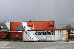 very cool container art in #Vancouver BC from this project http://evannsiebens.com/containr