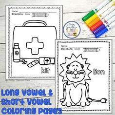 Your Students will ADORE this 120 Page Coloring Book for Long and Short Vowels! Add it to your plans to compliment any Short Vowel and Long Vowel Unit! 120 Coloring Pages Perfect for bulletin boar Second Grade Teacher, First Grade Classroom, First Grade Math, Fall Coloring Pages, Coloring Books, Long U Words, Veterans Day Coloring Page, Classroom Management Tips, Subtraction Worksheets