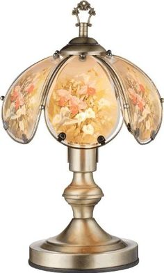 Floral glass table touch lamp touch lamp glass shades and glass table aloadofball Image collections