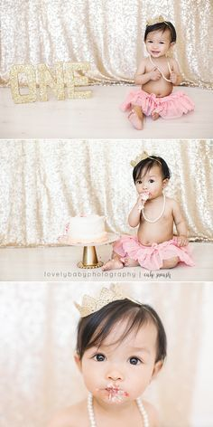 Gold and Peach Glittery and Girly Cake Smash Session - First Birthday!  Lovely Baby Photography