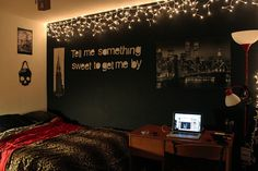 This would be nice with mirrors, the black walls framing the mirrors with icicle lights, yeah