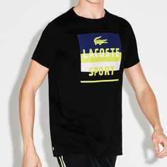 92ddc7580c5 Details about Lacoste Men s Ultra Dry Tennis T-Shirt 2XL Black Sport Tee  Shirt