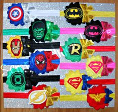Superhero Headbands, Marvel Headband, Detective Comics Headband, Batman Headband, Superman Headband, Wonder Woman Headband, Spiderman Bow by SemperAmorDecor on Etsy https://www.etsy.com/listing/236372364/superhero-headbands-marvel-headband