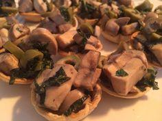 Aceitunas+albahaca+queso azul+ champiñones