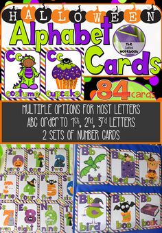 Halloween Alphabet Cards ABC Order. These 84 Halloween ABC / alphabet cards come with a recording sheet and would be great for write the room, groups, centers, scoot, flash cards, word walls, memory, matching games or even decorating your classroom or home for Halloween.
