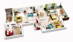 Plan en trois dimensions d'un logement intergénérationnel typique : deux appartements séparés par un sas privatif, donnant sur une porte d'entrée commune (programme Opac). © Thierry Baille