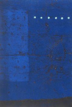 "Hiroyuki Tajima Japanese BLUE STRATUM, color woodblock print, signed in pencil, from the numbered edition of 50 image 19 x 13 ¼"", sheet . on Sep 2015 Mood Indigo, Wassily Kandinsky, Woodblock Print, Coloring Sheets, Illustration Art, Illustrations, Printmaking, Modern Art, Abstract Art"