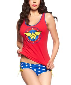 Look at this Red Wonder Woman Tank & Blue Hipster - Women on #zulily today!