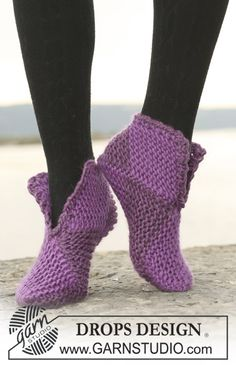 "DROPS slippers in garter st in 2 or 8 colours in ""Eskimo"". ~ DROPS Design"