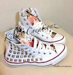 1ca0d05a335 Custom studded Converse Chuck Taylors with floral design ANY SIZE/COLOR  (made to order