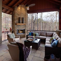I like the corner Fireplace for screened porch as to not block much of the view.
