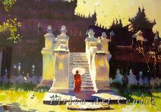 Myoe Win Aung - Monastery - watercolor
