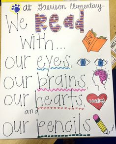We Read With our eyes, our brains, our hearts, and our pencils anchor chart
