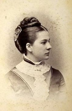 Photograph Of Mid Victorian Woman Wearing A Hair Comb Similar To The Faux Tortoiseshell Hair Comb With Decorative Balls