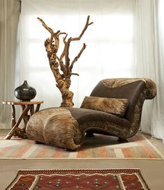 Chaise with Cowhide