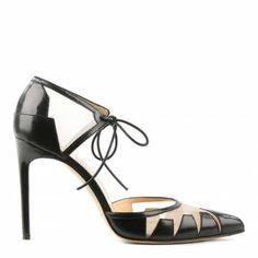 Black Leather Lace Up Lana Heels