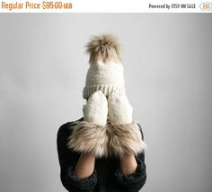 25% BLACK FRIDAY SALE/ handmade cute ivory set of fur by AIYshop
