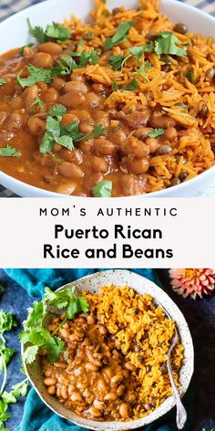 Mom's authentic Puerto Rican Rice and Beans with savory homemade sofrito and sazon! You'll love this incredibly flavorful, comforting homemade meal that will fill your home with unbelievably delicious Tasty Vegetarian Recipes, Mexican Food Recipes, Vegan Vegetarian, Vegetarian Gumbo, Vegetarian Main Dishes, Vegan Rice And Beans Recipe, Rice And Beans Recipe Puerto Rican, Latin Food Recipes, Vegan Polenta Recipes