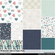 Wildwoods Add-On Paper Pack patterned papers for instant download for scrapbooking and card making #designerdigitals