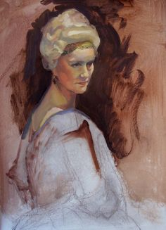 Lidia Bogaczowna on stage as Czaritsa Elizabeth, 70cm x 50.5cm, oil on card