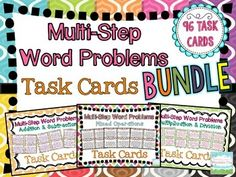 Multi-Step Word Problems Task Card BUNDLE! 96 differentiated task cards to practice multi-step problems with all operations! $