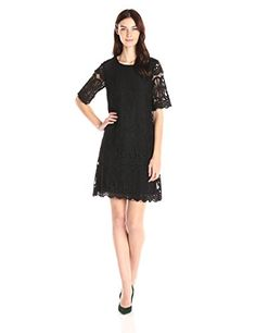 a1bca66e65e BCBGeneration Womens Lace Shift Dress Black XSmall   Learn more by visiting  the image link.