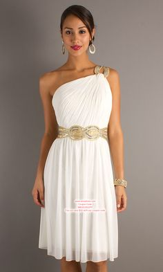 Sheath/Column One Shoulder Knee-length Chiffon White Cocktail Dresses #USALF053