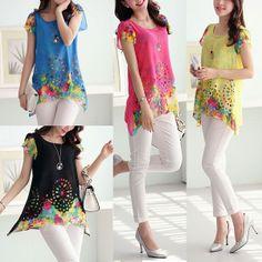 New Ladies Womens Loose Hollow Chiffon Asymmetric Hem Blouse Tops T Shirts