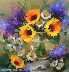 Shining Through - Sunflowers and Lilacs by Nancy Medina Oil ~ 20 x 20
