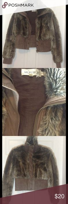 RESERVED FOR @YBOR 💚Faux Fur Jacket. Used 2 times for about an hour or so. It fits nicely, hugging your curves. It has a lil minor scratch that's pretty much invisible. The close up pic shows it. You can style it as turtle neck too. Keeps you cozy. It can fit size M too. I'm open to fair trades or offers for this. Mür Mür Jackets & Coats