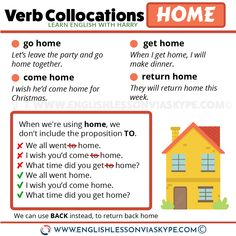 Here you will learn English verb collocations with home. Learn how to use verbs go, come, return with the word home correctly. English Grammar Tenses, English Verbs, Learn English Grammar, Grammar And Vocabulary, English Study, English Lessons, English Vocabulary, Learning English, Improve English Speaking