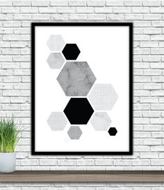Hexagon Wall Art Black textured art Printable by PublicPrintable