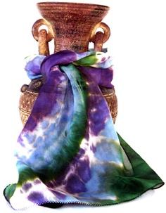 Silk Scarf hand painted, tie dye scarf, mandala scarf, peacock scarf, boho scarf, fern green scarf, amethyst scarf, silk scarves indian. $38.00, via Etsy.