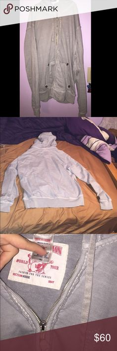 True religion zip up sweatshirt NEW without tags! Only tried on, took tags off to keep but ended up not wearing. Perfect condition!!! So comfortable. Size medium. First picture looks weird because of the way I took the picture. It will look how the pink one looks on. Offers welcome True Religion Other