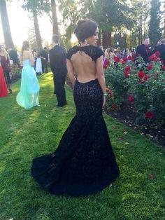 Elegant backless black lace prom dress, ball gown, prom dresses long #coniefox