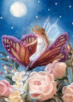 Stop and Smell the Roses...#fairy #faerie #fantasy #moon #butterfly #roses #art