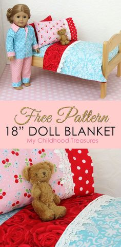 doll accessories This is part 4 of my DIY doll bedding series which includes a mattress, pillows and Learn how to finish your doll bedding with a doll blanket pattern. Sewing Doll Clothes, Baby Doll Clothes, Sewing Dolls, Barbie Clothes, Baby Doll Bed, Doll Beds, Ag Doll Crafts, Diy Doll, Doll Quilt